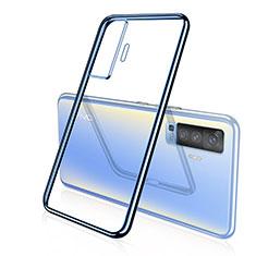 Custodia Silicone Trasparente Ultra Sottile Cover Morbida H04 per Vivo X50 5G Blu