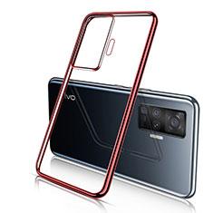 Custodia Silicone Trasparente Ultra Sottile Cover Morbida H04 per Vivo X50 Pro 5G Rosso