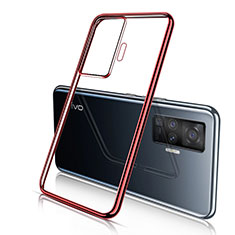 Custodia Silicone Trasparente Ultra Sottile Cover Morbida H04 per Vivo X51 5G Rosso