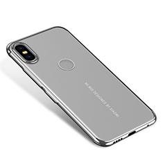 Custodia Silicone Trasparente Ultra Sottile Cover Morbida H04 per Xiaomi Mi Mix 2S Argento