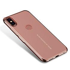 Custodia Silicone Trasparente Ultra Sottile Cover Morbida H04 per Xiaomi Mi Mix 2S Oro Rosa