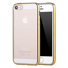 Custodia Silicone Trasparente Ultra Sottile Cover Morbida H05 per Apple iPhone SE Oro