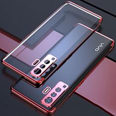 Custodia Silicone Trasparente Ultra Sottile Cover Morbida H05 per Vivo X50 5G Rosso