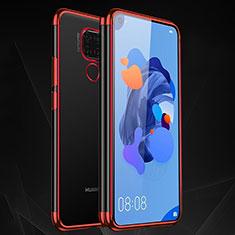 Custodia Silicone Trasparente Ultra Sottile Cover Morbida H06 per Huawei Mate 30 Lite Rosso