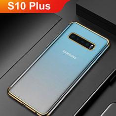Custodia Silicone Trasparente Ultra Sottile Cover Morbida H06 per Samsung Galaxy S10 Plus Oro