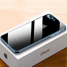Custodia Silicone Trasparente Ultra Sottile Cover Morbida HC02 per Apple iPhone 8 Plus Blu
