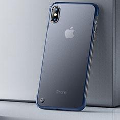 Custodia Silicone Trasparente Ultra Sottile Cover Morbida HT01 per Apple iPhone Xs Max Blu