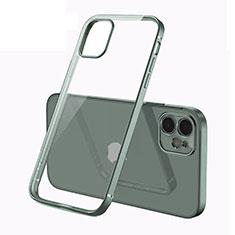 Custodia Silicone Trasparente Ultra Sottile Cover Morbida N01 per Apple iPhone 12 Mini Verde Notte