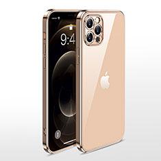 Custodia Silicone Trasparente Ultra Sottile Cover Morbida N01 per Apple iPhone 12 Pro Max Oro