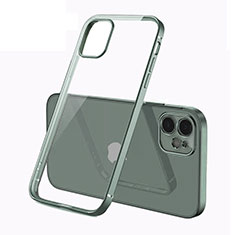 Custodia Silicone Trasparente Ultra Sottile Cover Morbida N01 per Apple iPhone 12 Verde Notte