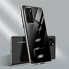 Custodia Silicone Trasparente Ultra Sottile Cover Morbida N01 per Huawei P40 Nero