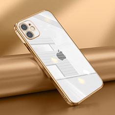 Custodia Silicone Trasparente Ultra Sottile Cover Morbida N02 per Apple iPhone 12 Oro
