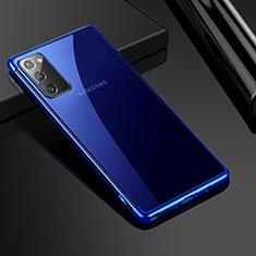 Custodia Silicone Trasparente Ultra Sottile Cover Morbida N03 per Samsung Galaxy Note 20 5G Blu