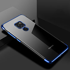 Custodia Silicone Trasparente Ultra Sottile Cover Morbida S01 per Huawei Mate 20 Blu