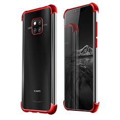 Custodia Silicone Trasparente Ultra Sottile Cover Morbida S01 per Huawei Mate 20 Pro Rosso
