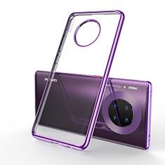 Custodia Silicone Trasparente Ultra Sottile Cover Morbida S01 per Huawei Mate 30 Viola