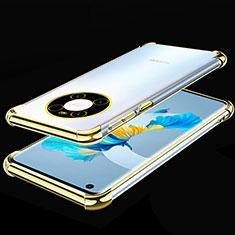 Custodia Silicone Trasparente Ultra Sottile Cover Morbida S01 per Huawei Mate 40 Oro