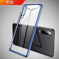 Custodia Silicone Trasparente Ultra Sottile Cover Morbida S01 per Huawei P30 Blu
