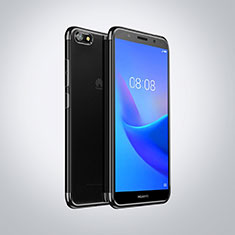 Custodia Silicone Trasparente Ultra Sottile Cover Morbida S01 per Huawei Y5 (2018) Nero