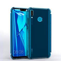 Custodia Silicone Trasparente Ultra Sottile Cover Morbida S01 per Huawei Y9 (2019) Blu
