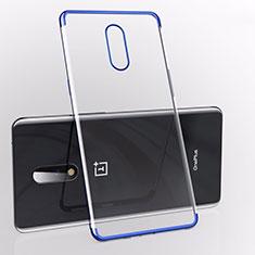 Custodia Silicone Trasparente Ultra Sottile Cover Morbida S01 per OnePlus 7 Blu