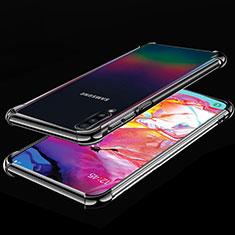 Custodia Silicone Trasparente Ultra Sottile Cover Morbida S01 per Samsung Galaxy A70 Nero