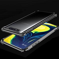 Custodia Silicone Trasparente Ultra Sottile Cover Morbida S01 per Samsung Galaxy A80 Nero