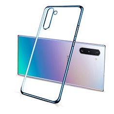 Custodia Silicone Trasparente Ultra Sottile Cover Morbida S01 per Samsung Galaxy Note 10 5G Blu