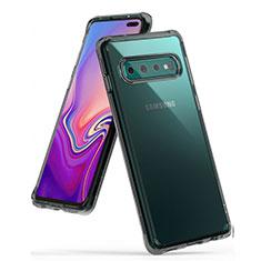 Custodia Silicone Trasparente Ultra Sottile Cover Morbida S01 per Samsung Galaxy S10 Plus Grigio