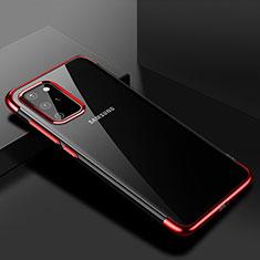 Custodia Silicone Trasparente Ultra Sottile Cover Morbida S01 per Samsung Galaxy S20 Plus Rosso
