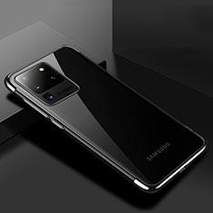 Custodia Silicone Trasparente Ultra Sottile Cover Morbida S01 per Samsung Galaxy S20 Ultra Nero