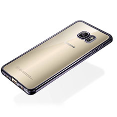 Custodia Silicone Trasparente Ultra Sottile Cover Morbida S01 per Samsung Galaxy S6 Edge+ Plus SM-G928F Nero