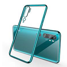 Custodia Silicone Trasparente Ultra Sottile Cover Morbida S01 per Xiaomi Mi Note 10 Ciano