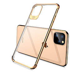 Custodia Silicone Trasparente Ultra Sottile Cover Morbida S02 per Apple iPhone 11 Pro Max Oro