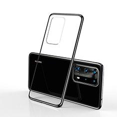 Custodia Silicone Trasparente Ultra Sottile Cover Morbida S02 per Huawei P40 Pro Nero
