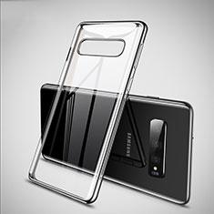 Custodia Silicone Trasparente Ultra Sottile Cover Morbida S02 per Samsung Galaxy S10 Argento