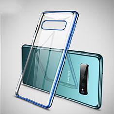 Custodia Silicone Trasparente Ultra Sottile Cover Morbida S02 per Samsung Galaxy S10 Plus Blu