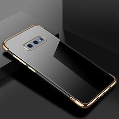 Custodia Silicone Trasparente Ultra Sottile Cover Morbida S02 per Samsung Galaxy S10e Oro