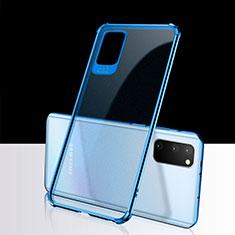 Custodia Silicone Trasparente Ultra Sottile Cover Morbida S02 per Samsung Galaxy S20 5G Blu