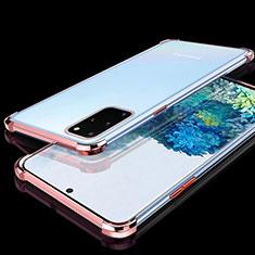 Custodia Silicone Trasparente Ultra Sottile Cover Morbida S02 per Samsung Galaxy S20 Plus 5G Oro Rosa