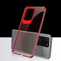 Custodia Silicone Trasparente Ultra Sottile Cover Morbida S02 per Samsung Galaxy S20 Ultra 5G Rosso