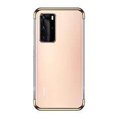 Custodia Silicone Trasparente Ultra Sottile Cover Morbida S03 per Huawei P40 Pro Oro