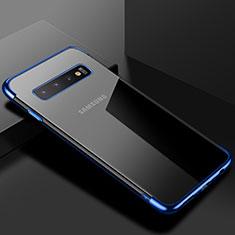 Custodia Silicone Trasparente Ultra Sottile Cover Morbida S03 per Samsung Galaxy S10 Blu