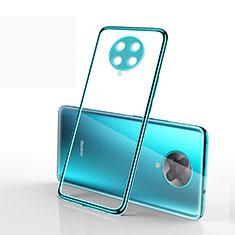 Custodia Silicone Trasparente Ultra Sottile Cover Morbida S03 per Xiaomi Poco F2 Pro Ciano