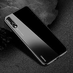 Custodia Silicone Trasparente Ultra Sottile Cover Morbida S04 per Huawei P20 Pro Nero