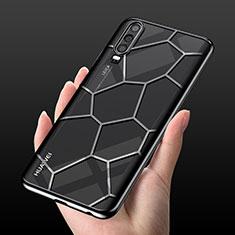 Custodia Silicone Trasparente Ultra Sottile Cover Morbida S04 per Huawei P30 Nero
