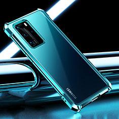 Custodia Silicone Trasparente Ultra Sottile Cover Morbida S04 per Huawei P40 Pro Ciano