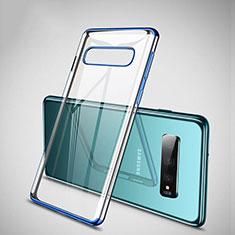 Custodia Silicone Trasparente Ultra Sottile Cover Morbida S04 per Samsung Galaxy S10 Plus Blu