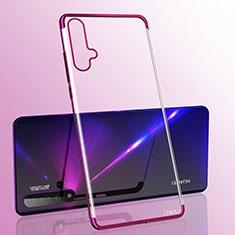 Custodia Silicone Trasparente Ultra Sottile Cover Morbida S05 per Huawei Nova 5 Viola