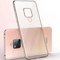 Custodia Silicone Trasparente Ultra Sottile Cover Morbida S06 per Huawei Mate 20 X 5G Oro